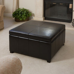 Home Loft Concept - Forrester Storage Cocktail Ottoman - The Forrester Storage Ottoman has great functionality and beautiful presence. It offers rich leather exterior with a large storage space interior for all of your needs. Features: -Square storage ottoman.-Classic style.-Sturdy wooden frame for added stability.-Provides ample storage and additional seating.-Softly padded top for added comfort.-Upholstered in Brown bonded leather.-Accents any room setting beautifully.-Distressed: No.Dimensions: -Dimensions: 19'' Height x 35'' Width x 35'' Depth.-Overall Product Weight: 55lbs.Warranty: -Manufacturer provides 90 day warranty against manufacturing defects.
