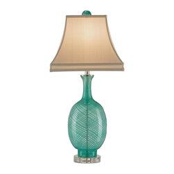 Currey - Currey Table Lamp, Cream Aqua Clear Silk - Product Details