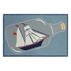 """Trans-Ocean Inc - Ship In A Bottle Water 24"""" x 36"""" Indoor/Outdoor Rug - Richly blended colors add vitality and sophistication to playful novelty designs. Lightweight loosely tufted Indoor Outdoor rugs made of synthetic materials in China and UV stabilized to resist fading. These whimsical rugs are sure to liven up any indoor or outdoor space, and their easy care and durability make them ideal for kitchens, bathrooms, and porches; Primary color: Blue;"""