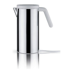 Alessi - Electric Water Kettle - After the success of the electric Kettle hot.it (2009), designed by Wiel Arets, by popular demand, here are a smaller-size version. Features: -Material: 18/10 Stainless steel.-Handle and lid in thermoplastic resin.-Capacity: 47 ounces.-Distressed: No.Dimensions: -Dimensions: 10.83'' H x 9.84'' W x 5.12'' D.