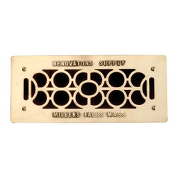 "The Renovators Supply - Heat Registers Bright Cast Brass Heat Register Grille 4 3/4 x 11 | 23306 - Grilles Polished & lacquered to prevent tarnishing their traditional scroll design & heavy cast brass are of superior quality workmanship. Mounts to floor- walls or ceilings. Adorned with ""Renovator's Supply Millers Falls Mass"" imprint for a period style. Hardware not included. Overall 4 3/4 x 11."