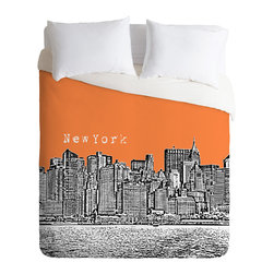 DENY Designs - Bird Ave New York Orange Duvet Cover - Turn your basic, boring down comforter into the super stylish focal point of your bedroom. Our Luxe Duvet is made from a heavy-weight luxurious woven polyester with a 50% cotton/50% polyester cream bottom. It also includes a hidden zipper with interior corner ties to secure your comforter. it's comfy, fade-resistant, and custom printed for each and every customer.
