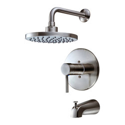 Hardware House - Hardware House 13-5627 Satin Nickel Tub / Shower Combo Faucet - Single Handle Mixer Design