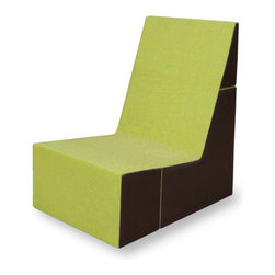 Cubit Chair, Lime/Java - Multipurpose, lightweight chair folds down into a small cube for easy shipping and storage.