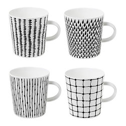 Design House Stockholm - Design House Stockholm Catharina Kippel Bono Handle Mugs - These four black and white mugs each have slightly different patterns, making it obvious whose coffee is whose. I love their bold yet minimal style.