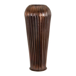 Aspire - Tall 28 in. Brown Floor Vase - You can now have both style and functionality with this large metal vase. Store items while accentuating your home or office with this unique vase. Metal. Color/Finish: Dark copper glazed. 28 in. H x 11 in. W x 11 in. D. Weight: 6 lbs.