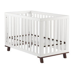 Low-Rise Crib, White Frame With Espresso Base