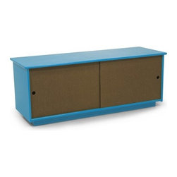 "Loll Designs - Medium Credenza - Features: -Made with a thick poly case that is both weather resistant and durable. -Sliding doors are made with richlite paper composite that will hold up for years outdoors. -Slotted holes in the bottom allow for air - flow to keep the inside dry and mold free, especially when damp belongings go back inside. -18"" tall it can double as a cocktail table and a bench. -Easy to fit your space and storage needs. -Assembly required. -17.75"" H x 46"" W x 16"" D."