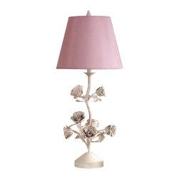 Laura Ashley - Laura Ashley BTS006 Elizabeth Floral Table Lamp Base Gold Flaked Cream - Laura Ashley BTS006 Elizabeth Floral Table Lamp Base Gold Flaked Cream