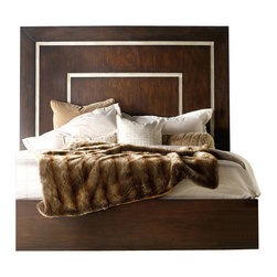 Hooker Furniture - Melange Bukhara Panel Bed - King - With a dramatically tall walnut veneer headboard, this modern but soft signature bed is accented by silver faux croc inlay borders.