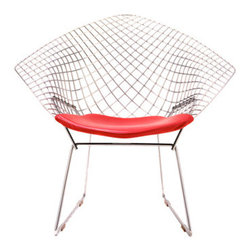 Harry Bertoia - Bertoia Diamond Chair - Bertoia Diamond Chair by Knoll   designed by Harry Bertoia The Bertoia Diamond Chair is constructed of steel rods with chrome polish, and a seat cushion that attaches to the chair with lock snaps. Famed artist and sculptor Harry Bertoia created his line of home seating after a series of artistic experiments with bent metal and negative space. The result were some of the most beautiful, striking chairs ever created, and their enduring popularity and unceasing production (the Bertoia chairs have been produced without cessation for more than half a century) represents that rarest, most cherished marriage: critical and artistic breakthrough combined with public approval.The Diamond Chair is paradoxical, and intentionally so. The steel rods that bend and join to create it's shape and frame are criss-crossed over each other in a beguiling and optically elusive pattern that bends in several directions while keeping it's symmetry. Another paradox is that it's a chair full of h