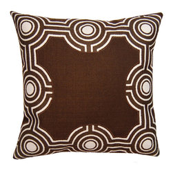 Square Feathers - Exotic Graphic Brown Throw Pillow - The Exotic Graphic throw pillow mesmerizes with a dynamic geometric border. Simple straight lines connect intrinsic circles to form the accessory's modern maze. Available in several sizes; Faux linen; Brown and white; Zipper closure; Includes 90/10 feather down insert; Dry clean only; Made in the USA