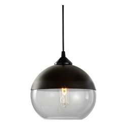 Hennepin Made - Parallel Sphere Pendant Light - Give your lighting an elegant, modern look with this stunningly smooth pendant light. This sphere is crafted from handblown glass and spun aluminum, and includes a black canopy, a 40 watt bulb and a four foot cord. This ethereally beautiful light comes in a variety of sophisticated colors, so mix and match until you find your favorite.