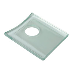 Renovators Supply - Faucet Parts Clear Glass Square Faucet Plate Only - Replacement Tempered Glass Waterfall Faucet Plate that fits our SQUARE BASE waterfall faucet only #16485. Mix & Match your faucet with our selection of tempered  Glass Vessel Sinks!!