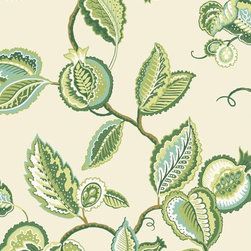 Fantasy Fleur  Wallpaper - This bold wallcovering features large and fanciful foliage on an open field. In a Waverly world the fruit and leafy branches are presented in surface print for depth and in charming color combinations to update your home.