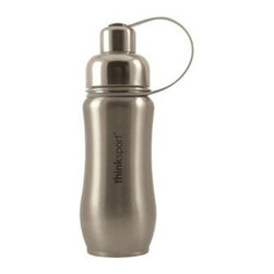 Thinksport - Thinksport Stainless Steel Sports Bottle, Silver, 12 Oz - Built to fit your active lifestyle, thinksport Stainless Steel Insulated Sports Bottles provide an alternative to bottles containing Bisphenol-A (BPA). thinksport Stainless Steel Insulated Sports Bottles are built tough and super insulated to keep the contents cold or hot for hours. This insulated bottle is double-walled and vacuum-sealed stainless steel construction. When you fill your insulated bottle you won't feel the temperature of the contents; now you won't ever have to grab a blazing hot bottle or a freezing cold one either. You can fill our bottle with ice, your favorite drink and enjoy a cold drink without the bottle sweating all over your gym bag, backpack, or desk. thinksport bottles elegant design features a wide mouth opening (for ease of filling and cleaning) and a smaller polypropylene spout (for convenient drinking). thinksport bottles also feature a removable interior mesh filter that keeps ice from blocking the drinking spout and allows users to conveniently brew loose leaf tea on the go or make campfire coffee. The thinksport insulated bottle is a high-quality insulated sport bottle for about the same price as the other guys  basic single-walled bottles. thinksport bottles are made of 18/8 medical-grade 304 stainless steel and do not have any type of potential harmful liner. thinksport products address the growing concern of toxic chemicals leaching from consumer products. All thinksport products are free of bisphenol-A (BPA), lead, PVC, phthalates, melamine, nitrosamines, and biologically toxic chemicals. How do you care for my thinksport bottle? thinksport recommends hand washing your bottles, however bottles are dishwasher safe, be sure to remove the cap and strap first. thinksport Stainless Steel Insulated Sports Bottles are great for the beach, tailgating, bicycling, camping, gym, and for keeping your drinks hot or cold at the office. Size: 350ml (12oz), 8  x 2.5  wide, Color: Silver