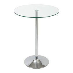 Euro Style - Euro Style Talia Bar Table 24212A/24212G - A welcoming circle of glass is fitted to a polished chromed steel base. It's a bright and friendly look that's easy to maintain and durable. The perfect place to mingle for a close circle of friends.