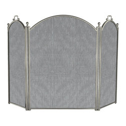 Uniflame - Uniflame S-7539 3 Panel Satin Pewter Large Diameter Folding Screen - 3 Panel Satin Pewter Large Diameter Folding Screen belongs to Fireplace Accessories Collection by Uniflame