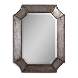 """Uttermost - Uttermost 13628 B  Elliot Distressed Aluminum Mirror - Frame is made of distressed, hammered aluminum with burnished edges and rustic bronze details. mirror has a generous 1 1/4"""" bevel. may be hung either horizontal or vertical."""