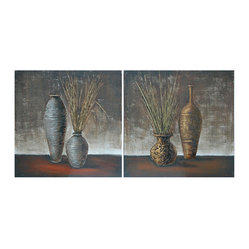 Crestview - 2-Piece Metal Wall Art - Here's a pair of pairs for your wall. Each of two metal squares is painted with classic vase and urn shapes in a scratched and washed textural background sure to add instant drama to your space. Hang them together horizontally or vertically — or split the couple up and share the theme around your house.