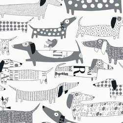 """Loboloup - Wiener Dogs, Gray, Sample - Loboloup wallpaper is hand-screened locally in the USA, and printed with eco-friendly, water-based inks on clay-coated paper. Our paper is vinyl-free and class A fire rated. Samples are approximately 9"""" x 11"""". Once hung, wallpaper can be gently wiped clean."""