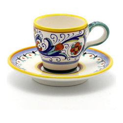 Artistica - Hand Made in Italy - RICCO DERUTA: Classic Espresso Cup and Saucer - RICCO DERUTA: This product is part of the renown Ricco Deruta Collection.
