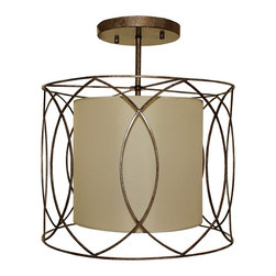 Lightupmyhome - Sienna Oil rubbed Bronze Drum Flush Mount Ceiling Light Fixture - This beautiful wrought iron ceiling light features a gorgeous oil rubbed bronze finish and a beige inner drum shade.