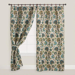 Floral Spring Bliss Jute Ring Top Curtain -