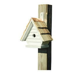 Heartwood - Chick Birdhouse Whitewashed - This  beautifully  crafted  birdhouse  is  the  perfect  finishing  piece  for  any  yard.  Made  of  solid  cypress  with  a  hand-shingled  roof  and  full  copper  trim,  this  chick  house  is  pristine.  It  also  comes  equipped  with  ventilation,  drainage  and  a  rear  cleaning  door  for  easy  access  and  no  hassle.  Also  comes  with  a  mounting  paddle  for  easy  hanging.  Available  in  several  colors.          Product  Details:                  6x8x12              1-1/8  hole              Available  in  smoke  grey,  pinion  green,  redwood,  whitewashed,  celery  and  blueberry              Handcrafted  in  USA  from  renewable,  FSC  certified  wood
