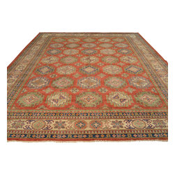 Tribal Design Red Kazak 100% Wool 10'x14' Hand Knotted Oriental Rug Sh17776 - Our Tribal & Geometric hand knotted rug collection, consists of classic rugs woven with geometric patterns based on traditional tribal motifs. You will find Kazak rugs and flat-woven Kilims with centuries-old classic Turkish, Persian, Caucasian and Armenian patterns. The collection also includes the antique, finely-woven Serapi Heriz, the Mamluk Afghan, and the traditional village Persian rug.