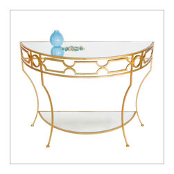 Worlds Away Iron and Mirror Console, Gold Leaf - Iron console with plain mirror shelves.
