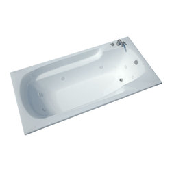 Spa World Corp - Atlantis Tubs 4272EWR Eros 42x72x23 Inch Rectangular Whirlpool Jetted Bathtub - The Eros collection features luxuriously designed corner bathtubs, with a traditional oval interior. Molded floor pattern prevents bathers from falling, while adding a piquant flavor to the bathtub's design. Lightweight construction makes installation quick and easy. Interior armrests provide luxury and comfort. Whirlpool tubs feature jets and recirculating pumps to supply a hydro-therapeutic experience. Whirlpool tubs are designed to provide a more vigorous and comforting massage with jets positioned to direct warm water to areas like the lower and upper back, shoulders and legs. The Atlantis whirlpool hydro therapy configuration consists of symmetrically-allocated, 360� direction-adjustable water jets. System control is located on the entrance side panel, allowing bathers to turn water streams on and off. Drop-in tubs have a finished rim designed to drop into a deck or custom surround. They can be installed in a variety of ways like corners, peninsulas, islands, recesses or sunk into the floor. A drop in bath is supported from below and has a self rimming edge that is designed to sit over a frame topped with a tile or other water resistant material. The trim for the air or water jets is featured in white to color match the tub.