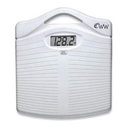 "Conair - Weight Watchers Precision Electric Scale - Weight Watchers Precision Electric Scale with 5-weight memories for one user; Oversized easy to read 1.3"" digital display; Displays weight in 0.2 lb./100 g increments; 330 lb./150 kg weight capacity; Large non-slip 12"" x 12"" platform; ""Tap-on"" scale activator; Wide handle - easy to carry and store; Long-life lithium battery included."