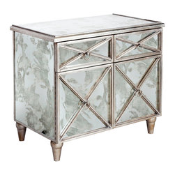 Kathy Kuo Home - Ritz Hollywood Regency Antique Mirror Silver Crosshatch Bar Cabinet - This impressive, intricately designed antique cabinet offers storage and swag anywhere you place it. Beautiful as a nightstand or storage chest, four mirrored doors detailed with brushed silver create an intriguing, romantic artwork.