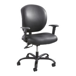 Safco - Safco Alday Task Chair in Black Vinyl - Safco - Office Chairs - 3391BV - Alday offers a different kind of seating experience to meet a vast variety of users. The difference is in the design. Alday was designed as an extensive use task chair, rated for 500 lbs. The ample supportive cushioning in the seat and back deliver ergonomic shaping to fit a variety of body types while providing all day comfort. The durable plastic ergo core back and reinforced mechanism with back tilt adds even more comfort and overall strength. Alday is also available with height adjustable/width adjustable T-pad arms.