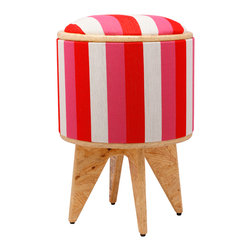 Pomada - Red-Fuschia-Chalk Stool Ottoman - Thanks to this candy striper, your room is about to make a full recovery. It's made of ecofriendly materials and upholstered in fabric dressed in sweet stripes of white, fucshia and red. It can be used as a foot stool, seat with storage, or a side table with the flip of the top.