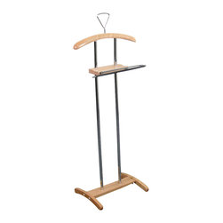 Proman Products - Proman Products Versailles Valet in Wood with Chrome Hardware - Versailles valet natural wood finish with chrome hardware. The contemporary design is suitable for kids room as well as younger people.