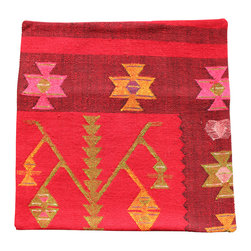 Original hand woven Kilim Imported from Turkey, - Red Background Antique Kilim Pillow Cover - Hand Woven from an Antique Turkish Kilim Carpet, this pillow cover has a Wool front and cotton back with Zipper entry.  Please note:  pillow insert not included.