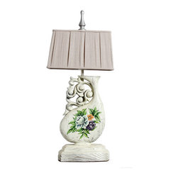 Floral Hand Painted White Finish Wooden Vase Table Lamp - Table lamps in solid wood carvings will enhance your home with a perfect mix of form and function.The rectangle shade is a linen fabric with natural slubbing. Artistic lamps with engraving art