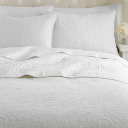 Levtex Home - White Vanderbilt Quilt Set - Give your bedroom a fresh start with added comfort with this beautifully crafted set. It brings the charming traditional feel of a quilt and combines it with an elegant style and chic color for a wonderful combination of the best of old and new.   Includes quilt and two shams (twin size includes one sham) Cotton Machine wash; tumble dry Imported