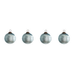 Ribbed-Glass Ornaments - Sea Blue
