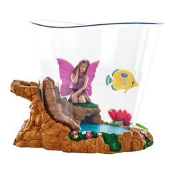 Trademark Global - 1 Qt. Fantaseas Aquarium Fish Tank - Fairylan - Fun and Safe Aquarium Environment. Colorful & Exciting Room Decor. Fun Tunnels and Entertaining Objects. For Fresh Water Use. Easy to Clean. 1 Quart(1 L) Capacity. One Fantasy Fish Included. 6.25 in. L x 5 in. W x 5.25 in. H (2 lbs.)Novel and fun fresh water aquarium fish tank with a bit of wonderment for a unique look. Great for a kid's aquarium or a family tank. This Fairyland room fish tank comes with a floating plastic fish, but the tank is also designed to house real freshwater fish. Colorful, Exciting, Fun, Safe, and easy to clean fish tank aquarium. This tank comes decorated with a fairy, flowers, and simulated waterfall. What more could a fish want?