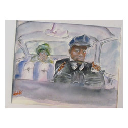 "Driving Miss Daisy, Original, Painting - Miss daisy has a new driver... he is young , and enthusiastic,,,but not as cooperative as her previous driver... they are getting to know one another as is obvious in the painting.... a whimsical painting.. that will touch those that found a common thread in the original "" driving miss daisy "" theme.... this painting as with all this artist work is done on gallery quality 100 % cotton rag, acid-free 140 lb. paper with non-fugitive watercolor pigments. no matter the painting ,,, no matter the whimsical nature of any of this artists paintings,,, one thing is always certain,,, his materials and presentation are always gallery quality."