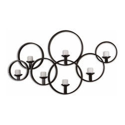 """Uttermost - Uttermost Kadoka Wall 65x37 Candle-Holder - This decorative wall candle-holder is made of hand forged metal with a rustic black finish. Included are seven 3"""" distressed ivory candles."""