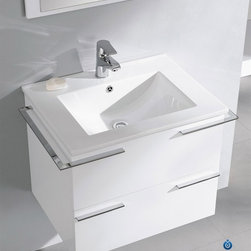 "Fresca Cielo White 24"" Modern Bathroom Vanity - Fresca Cielo White 24"" Modern Bathroom Vanity is one of the most compact vanities around. This 24"" wall mounted vanity model comes with a ceramic sink and matching mirror. Even small towel bars are attached to both sides of the vanity. Spectacular designs are available in Fresca vanities Collection, with choices between glasses or marble top wall mounted vanity, clear glass double bowl vanity, single sink bathroom vanity with frosted glass, and some more."