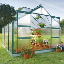 Juliana Compact 9.9 Green 9 x 12.1-Foot Greenhouse Kit - Additional features:Door dimensions: 48W x 68H inchesSidewall height: 4 ft.Peak height: 7.25 feet.Sturdy Scandinavian construction ensures thatthe frame can withstand the rough weatherUV-coated polycarbonate panels prevent damageand offer 83% visible light transmissionRoof is slanted at 300 to drain away rain, offeringexcellent ventilationRoof windows can be opened horizontally forincreased ventilationIntegral gutter designed to take downpipesDemonstrative, illustrated assembly instructionsAll mounting hardware included12-year extended frame warrantyThe easiest way to start a garden, the Juliana Compact 9.9 Green 9 x 12.1-foot Greenhouse Kit is just what you need to take up your long-time hobby seriously. If you want great results for the growing season or throughout the year, this greenhouse is the right choice for you. It boasts an advanced, twin-wall construction of polycarbonate panels that are capable of 40% better insulation than single pane glass. Virtually unbreakable, even against baseballs, rocks and hail, the panels ensure diffusion of 83% light, while the UV coating ensures your plants are shielded from the harmful rays of the sun. Designed to withstand extreme conditions in northern climates, the sturdy, aluminum frame boasts a robust Scandinavian construction, which has 50% more strength than other frames. The convenient gasket locking system, which holds the polycarbonate panels to the frame, ensures that installation and taking down of the greenhouse will never pose a problem for you. Simply place the panels in order and fasten them with the gaskets included, and your greenhouse is ready for use. Four adjustable roof vents will allow for maximum air circulation, while double sliding door will ensure easy access to and from your greenhouse. Thanks to the 12-year manufacturer's warranty, you can rest easy and enjoy your greenhouse without a care in the world. The galvanized base bit is included to ensure a solid foundation. If you want to make your garden stand out from the rest, you can't go wrong with the Juliana Compact 9.9 Green 9 x 12.1-foot Greenhouse Kit. Assembly is a weekend project for one or two people.About Juliana GreenhousesJuliana has been a premiere greenhouse manufacturer for over 40 years, originating in Scandinavia and expanding into the U.S. with Juliana America in 1991. Juliana is currently the largest distributor of greenhouses in the U.S. and offers high-quality greenhouses and greenhouse kits at unbeatable prices. Juliana greenhouses and greenhouse kits combine weather-tough durability with experience-driven design, providing the optimal growing environment for plants.