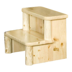 Viking Log Furniture - Northwoods Log Step Stool in Clear Finish - Northwoods Collection. Made in the USA. This product is made to order, please allow 4 weeks for custom build. Lifetime warranty. 26 in. W x 19 in. D x 19 in. H