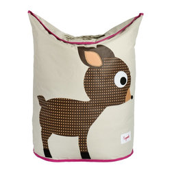 3 Sprouts - Deer Laundry Hamper - Does the clutter of dirty laundry seem to be taking over your child's nursery or bedroom? The 3 Sprouts laundry hamper is the perfect solution. Two large handles collapse, creating an easy access circular opening that stylishly keeps dirty laundry out of sight. And when you're ready to go, simply lift the handles and tote your laundry away! Made from 100% polyester, our laundry hamper is easy to wipe clean and folds flat when not in use. This innovative product won the Baby & Child Best New Product in the decor category at the New York International Gift Fair.