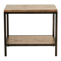 Ballard Designs - Durham Rectangular End Table - Coordinates with our Durham Console & Cocktail Tables. Frame has aged steel finish. Assembly required. The clean, architectural design of this metal frame End Table is based on an antique bricklayer's table. Bunch two to create a serving and display space in front of a sofa or loveseat. Planked wood top is heavily distressed and finished with a wash to bring out its natural grain and character.Durham Rectangular End Table features: . . .