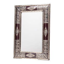 """24"""" Moroccan Metalwork & Leather Mirror - This beautifully handcrafted mirror is framed in intricate metalwork with leather accents. This piece may be displayed vertically or horizontally."""